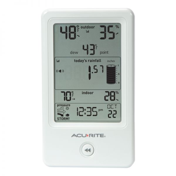 Front View of Display for Rain Gauge with Indoor/Outdoor Temperature – AcuRite Weather Technology