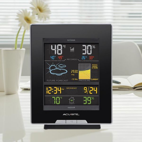 Color Weather Station display on a desk - AcuRite Weather Monitoring Devices