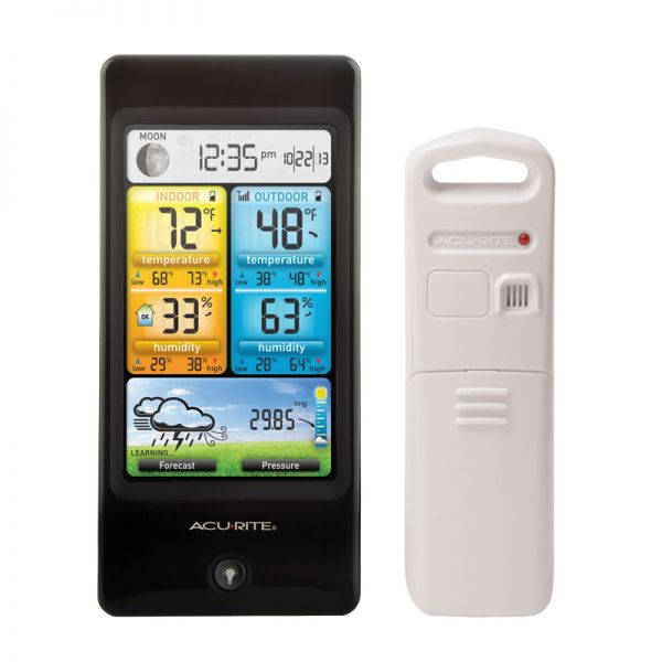 Close-Up of Basic Color Weather Station Display and Sensor – AcuRite Weather Monitoring Devices