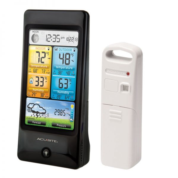 Angled View of Basic Color Weather Station Display and Sensor – AcuRite Weather Monitoring Devices