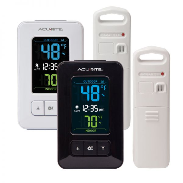 Color Digital Thermometer with Outdoor Sensor and Clock (2 Color Options) - AcuRite WEather monitoring devices