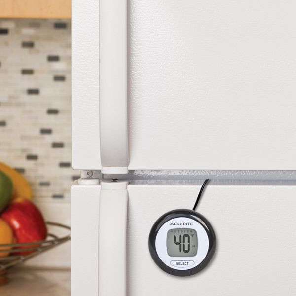 Digital Thermometer being used on a refrigerator - AcuRite Weather Monitoring Devices