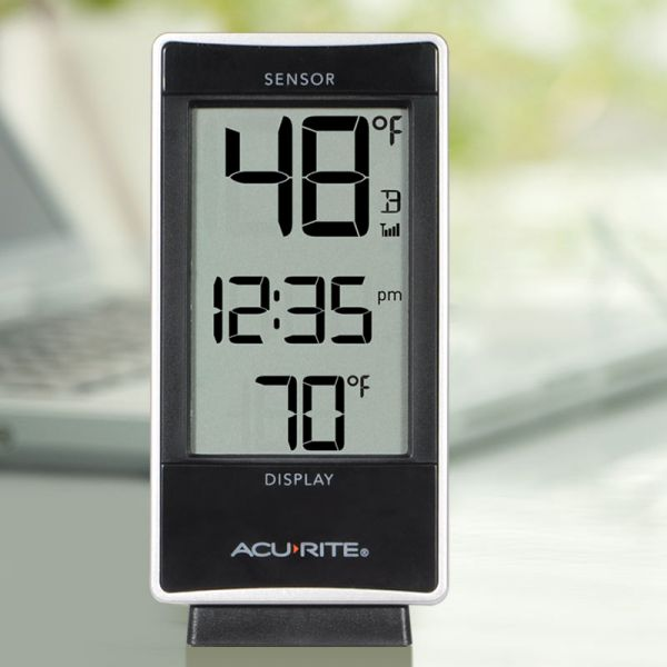 Digital Thermometer with Indoor / Outdoor Temperature on a desk - AcuRite Weather Monitoring Devices