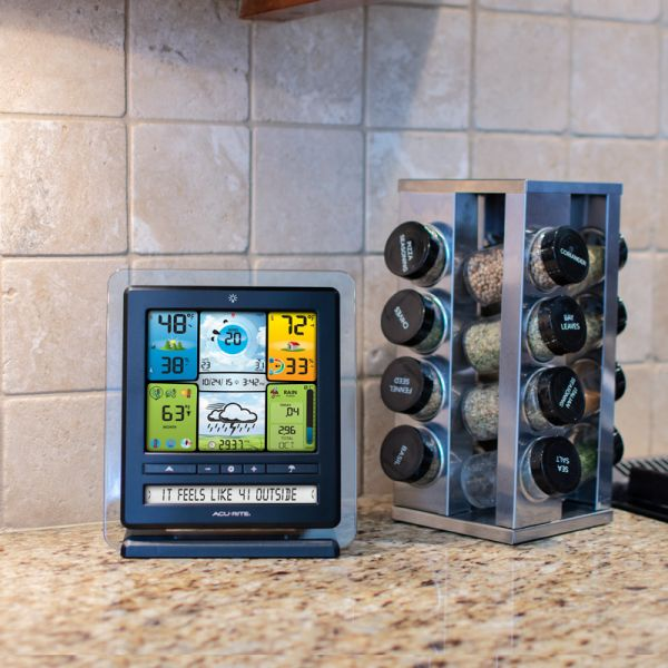 Color Display with PC Connect for 5-in-1 Weather Sensors sitting on a kitchen counter - AcuRite Weather Monitoring Devices