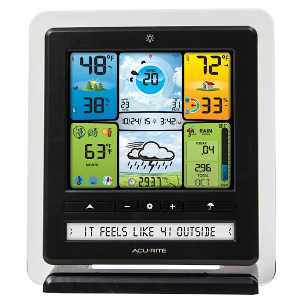 Front View of the Color Display with PC Connect for 5-in-1 Weather Sensors - AcuRite Weather Monitoring Devices
