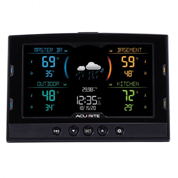 Front View of Display for Temperature and Humidity Station with 3 Indoor/Outdoor Sensors – AcuRite Weather