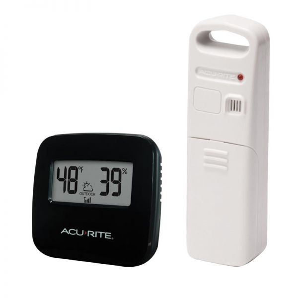 Angled view of the Wireless Thermometer with Outdoor Temperature and Humidity Sensor - AcuRite Weather Monitoring Devices