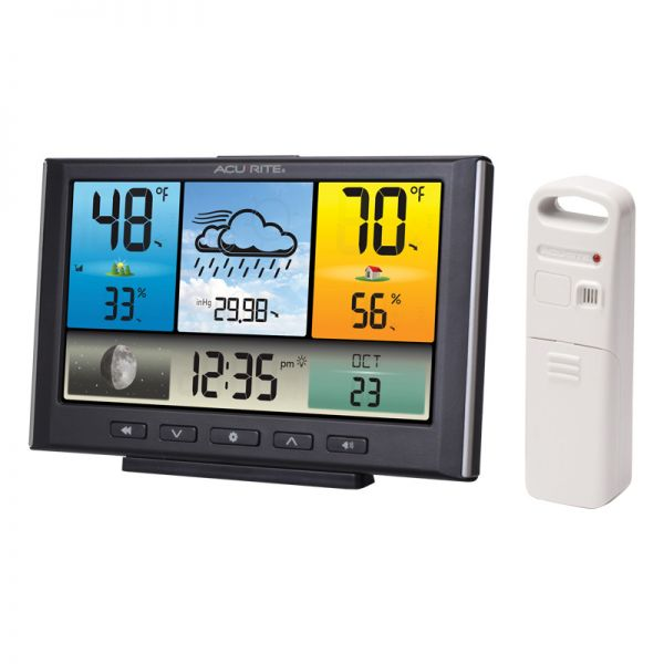 Angled view of the Digital Weather Station / Weather Clock with Color Display - AcuRite Weather Monitoring Devices