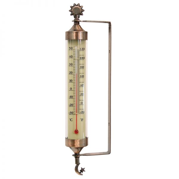 10.8-inch Copper Metal Thermometer with Sun & Moon Accents - AcuRite Thermometer