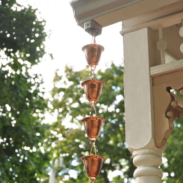 8-foot Copper Rain Chain hanging off of a porch - AcuRite Garden