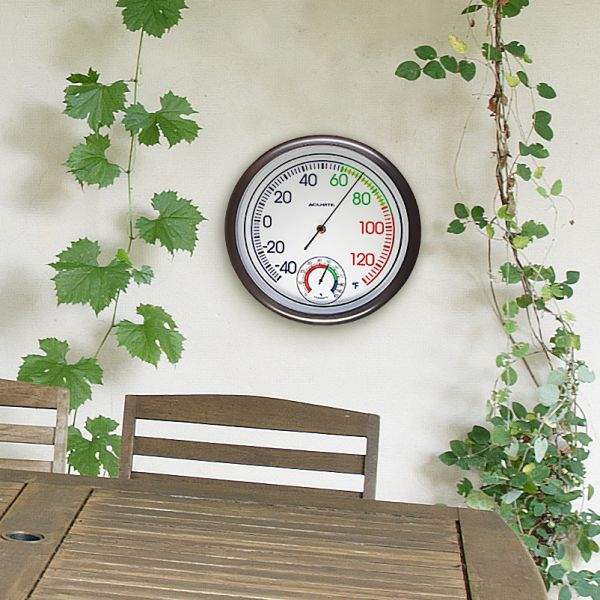 11.8-inch Thermometer with Humidity hanging outside on a wall - AcuRite Thermometers