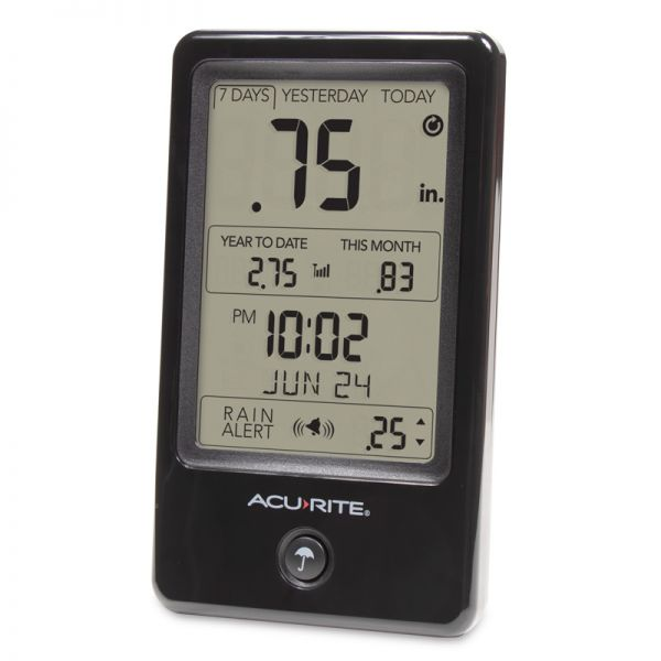 Angled view of the Digital Rain Gauge Display - AcuRite Weather Monitoring Devices