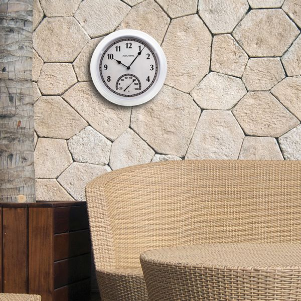 14-inch White Outdoor Clock with Thermometer hanging on a wall - AcuRite Clocks