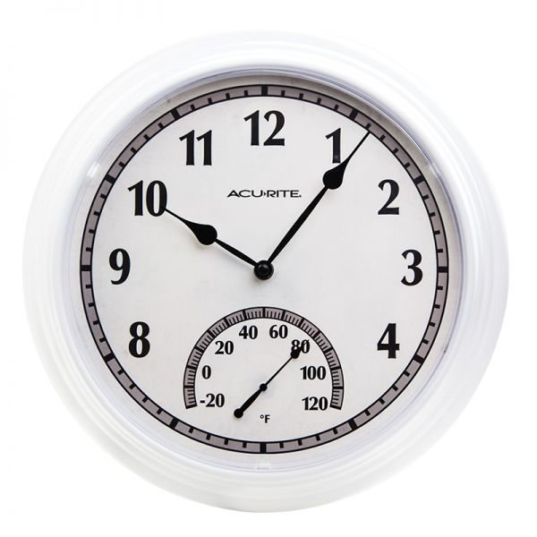 14-inch White Outdoor Clock with Thermometer - AcuRite Clocks