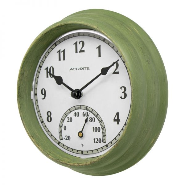 AcuRite outdoor clock with a thermometer at an angle