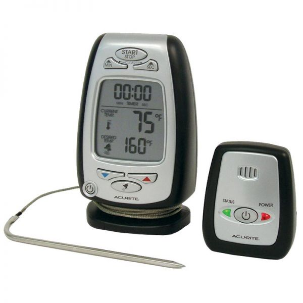 Angled view of the Digital Meat Thermometer & Timer with Pager - AcuRite Kitchen Gadgets