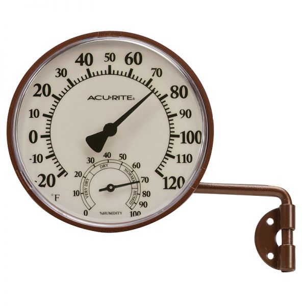 3.5-inch Bronze Swivel Thermometer with Humidity - AcuRite Weather Monitoring Devices