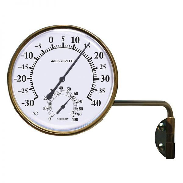 3.5-inch Bronze Celsius Swivel Thermometer with Humidity - AcuRite Thermometers