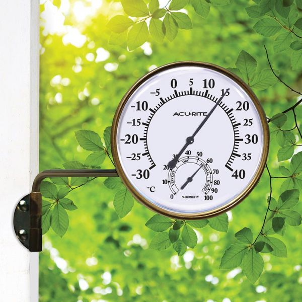 3.5-inch Bronze Celsius Swivel Thermometer with Humidity mounted outside - AcuRite Thermometers