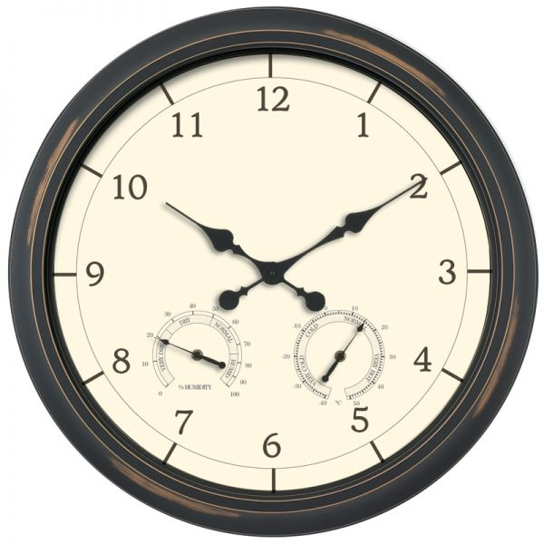 AcuRite antique black outdoor clock with temperature and humidity