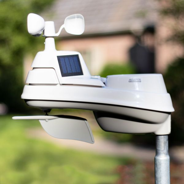 Weather Sensor for Pro+ 5-in-1 Weather Station with HD Display and Lightning Detector Installed in a Yard – AcuRite Weather