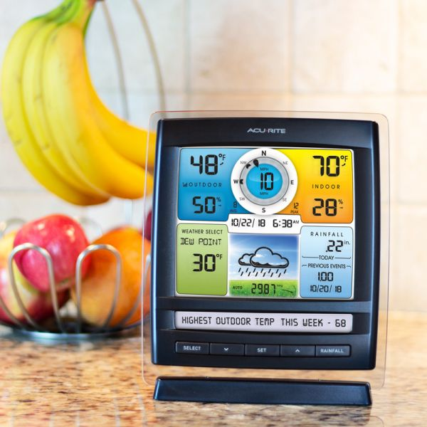 Display for 5-in-1 Color Weather Station with Wind Direction & Speed & Rain Sitting on Kitchen Counter – AcuRite Home Devices