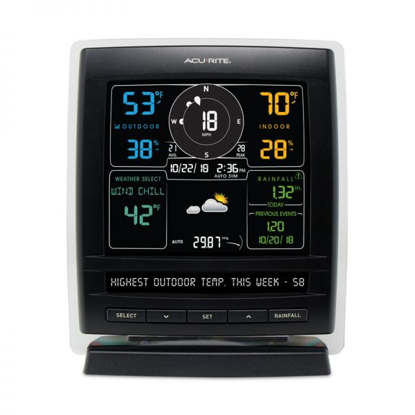 Close up of the Color Display for 5-in-1 Weather Sensor - AcuRite Weather Monitoring Devices