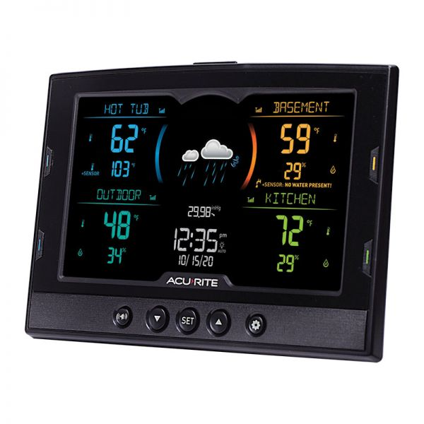 Angled view of the Color Multi-Sensor Display with 4-Zone Capability - AcuRite Weather Monitoring Devices