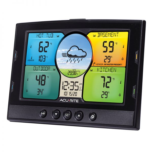 Angled View of Display for Temperature and Humidity Station with 3 Indoor/Outdoor Sensors – AcuRite Weather