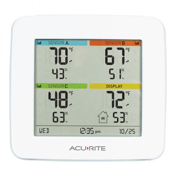 Home Environment Display with 4-Zone Indoor & Outdoor Capability - AcuRite Home Monitoring Devices