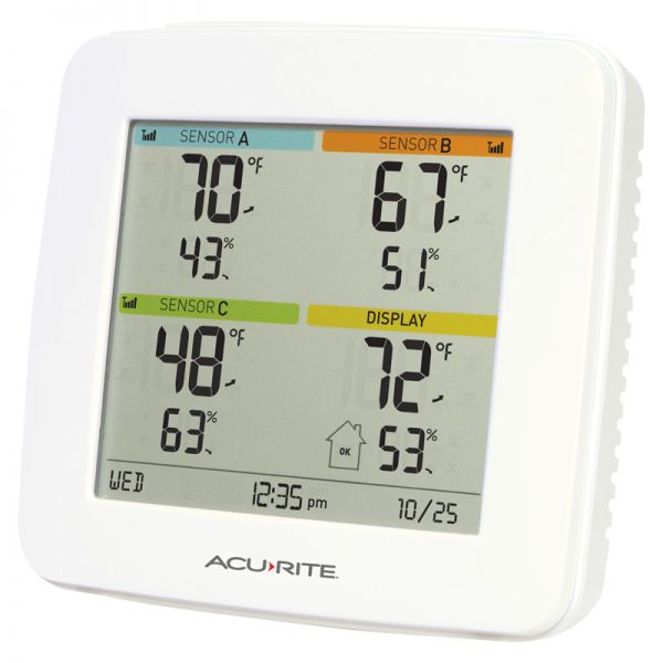 Angled view of the Home Environment Display with 4-Zone Indoor & Outdoor Capability - AcuRite Home Monitoring Devices
