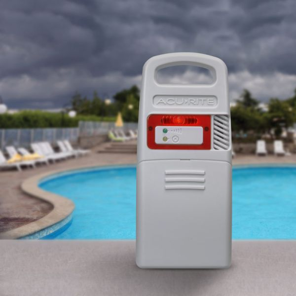 Lightning Detector for Pro+ 5-in-1 Weather Station with HD Display Placed Near a Pool – AcuRite Weather Tools