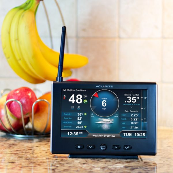 HD Display for 5-in-1 Weather Station and Lightning Detector Placed on a Kitchen Counter – AcuRite Home Monitoring Devices
