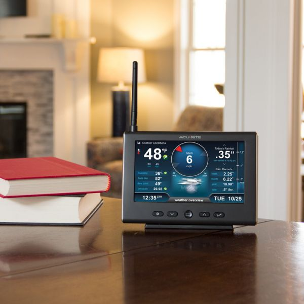 Pro+ 5-in-1 Weather Station HD Display Placed on a Side Table in Your Home – AcuRite Home Monitoring Technology