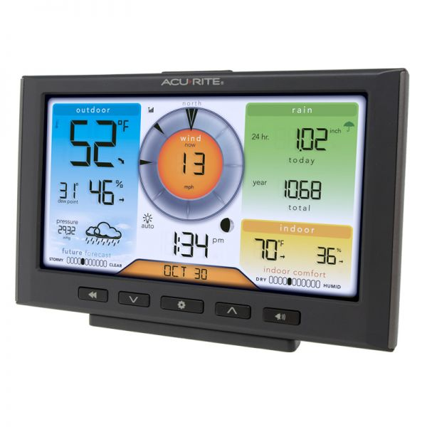 Angled View of Wi-Fi Weather Station Display for 5-in-1 Sensor – AcuRite Weather Instruments