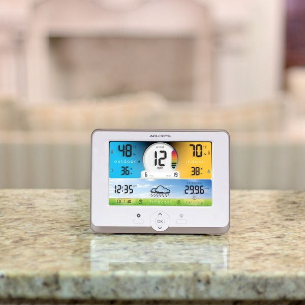 3-in-1 Weather Station display on a counter - AcuRite Weather Monitoring Devices