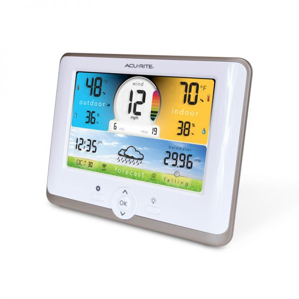 Angled view of the 3-in-1 Weather Station Display - AcuRite Weather Monitoring Devices