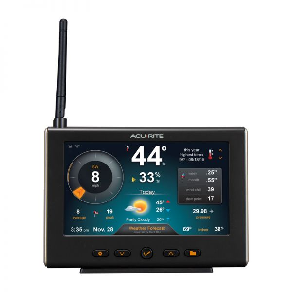 Front View of HD Display with Wi-Fi Forecast for 5-in-1 Weather Station – AcuRite Weather Technology
