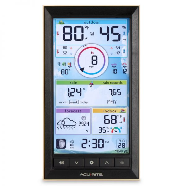 Front View of LCD Color Display for PRO+ 5-in-1 Weather Station – AcuRite Weather Technology