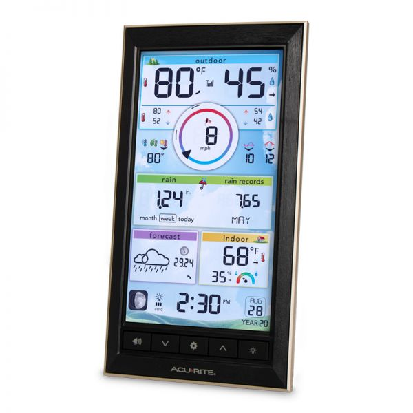 Angled View of LCD Color Display for PRO+ 5-in-1 Weather Station – AcuRite Weather Technology