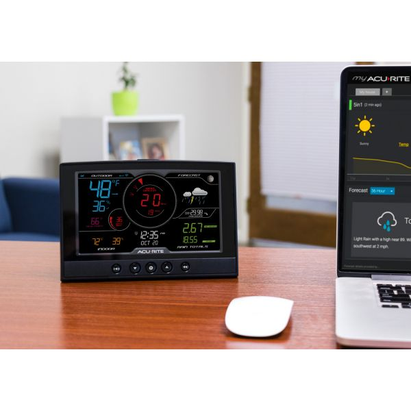 Direct to Wi-Fi Display for 5-in-1 Weather Station, sitting on a desk - AcuRite Weather Monitoring Devices