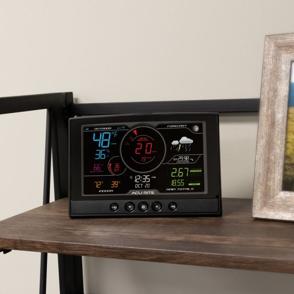 Direct to Wi-Fi Display for 5-in-1 Weather Station, sitting on a shelf - AcuRite Weather Monitoring Devices