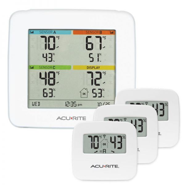 Temperature and Humidity Station with 3 Indoor Sensors - AcuRite Home Monitoring Devices