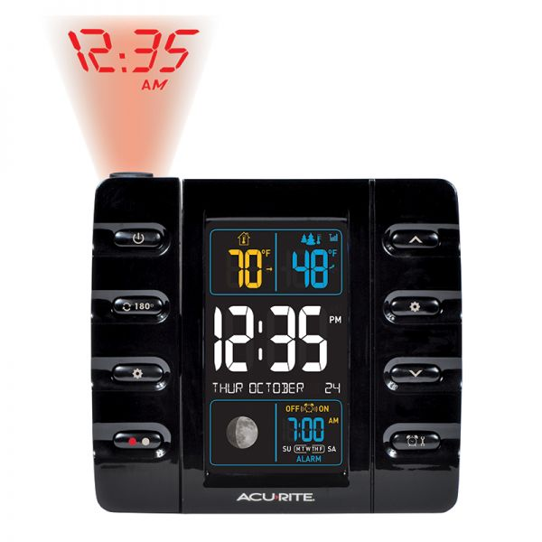 AcuRite projection alarm clock with indoor and outdoor temperature