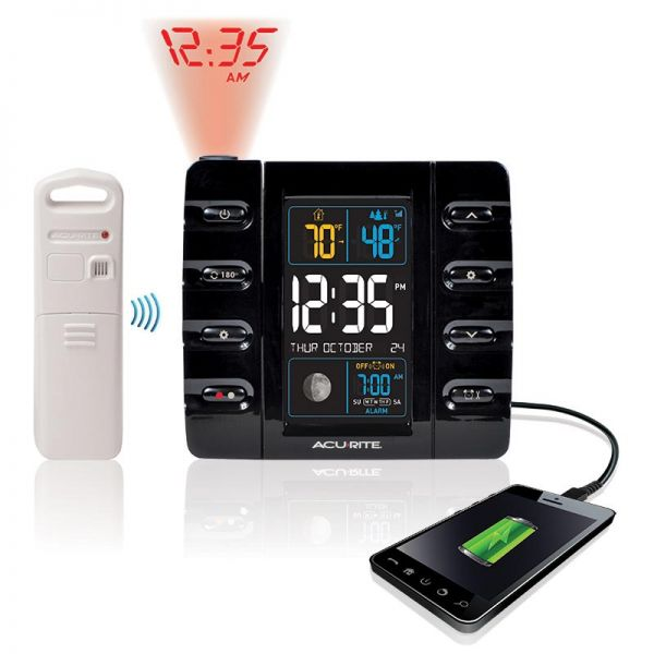 AcuRite projection alarm clock with a phone charger and thermometer