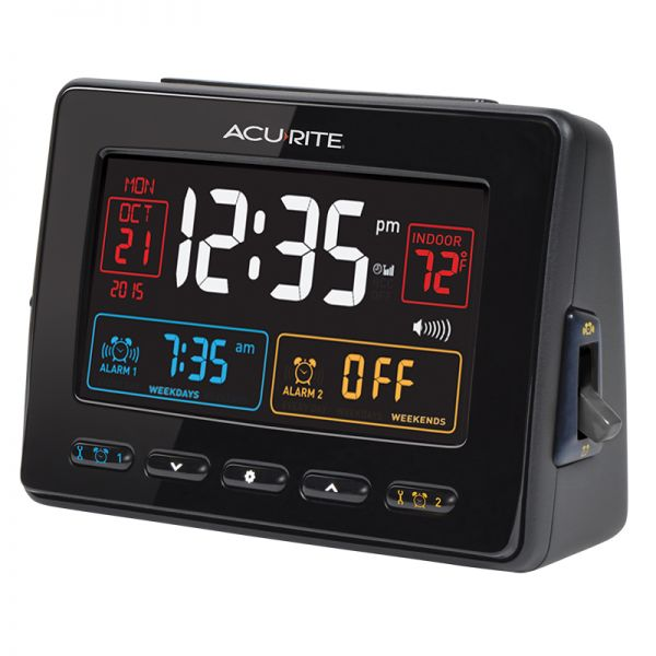 Angled view of the Atomic Clock with USB Charger & Dual Alarm - AcuRite Clocks