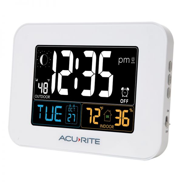 AcuRite Inteli-Time white alarm clock with indoor temperature and humidity