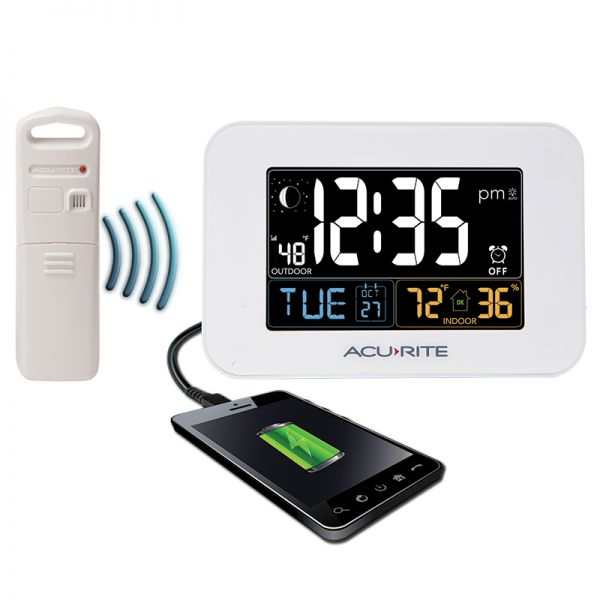 AcuRite Inteli-Time white alarm clock with indoor and outdoor temperature and humidity