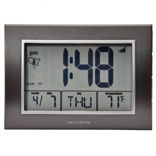 7-inch Atomic Alarm Clock with Date, Day of Week and Temperature - AcuRite Clocks