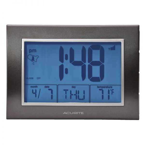 7-inch Atomic Alarm Clock with Date, Day of Week and Temperature with the backlight on - AcuRite Clocks